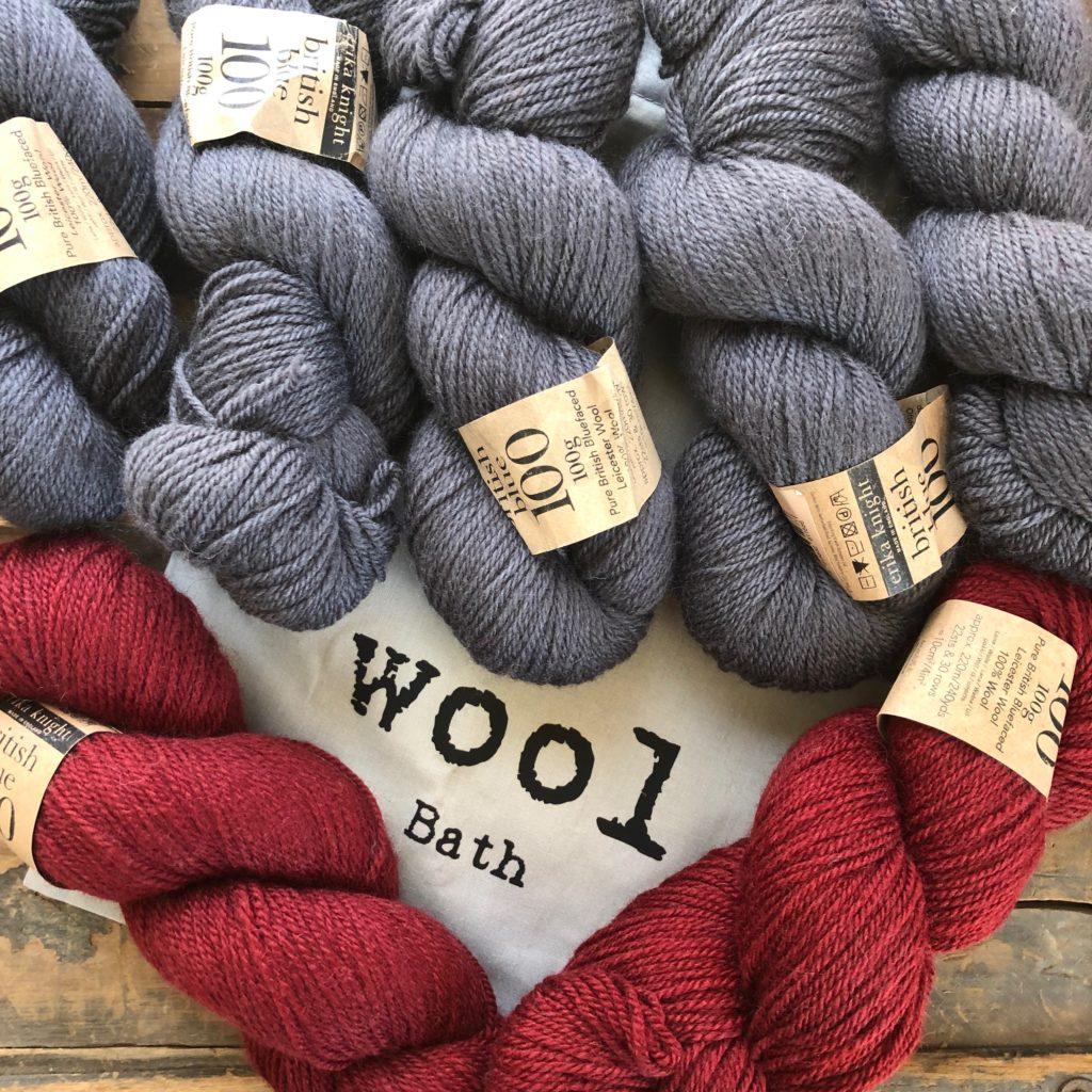 Seven hangs of Erik Knight British Blue 100 from Wool in Bath, UK.